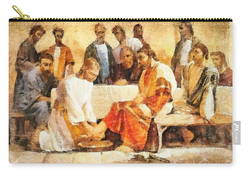 Jesus Washing Apostle's Feet Carry-all Pouch featuring the painting Jesus Washing Apostle's Feet by Dan Sproul