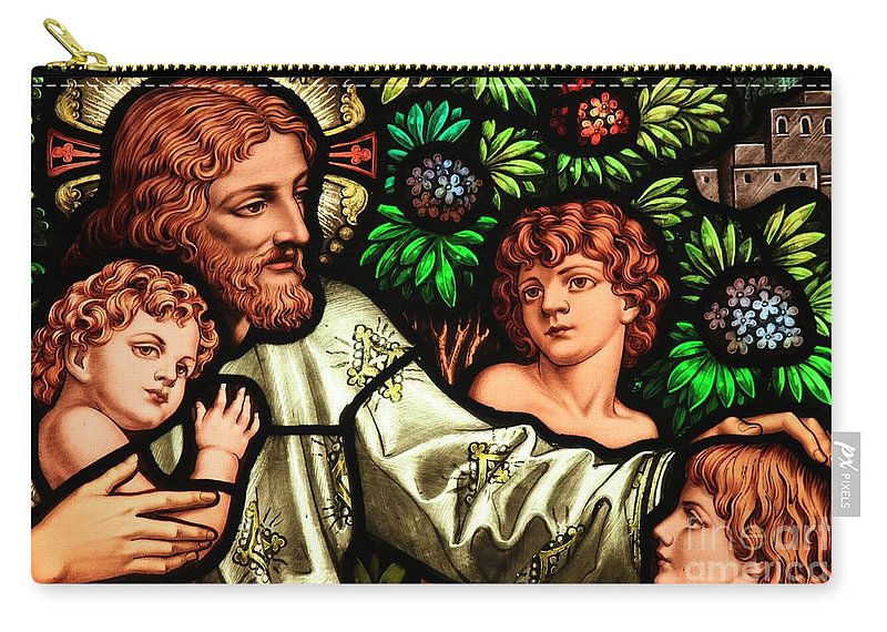 Jesus Carry-all Pouch featuring the photograph Jesus With Children by Adam Jewell