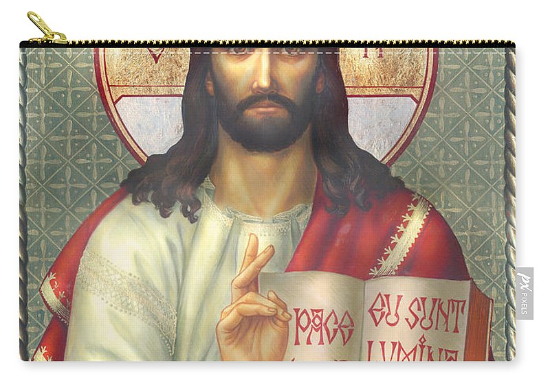 Zorina Baldescu Carry-all Pouch featuring the digital art Jesus by Zorina Baldescu