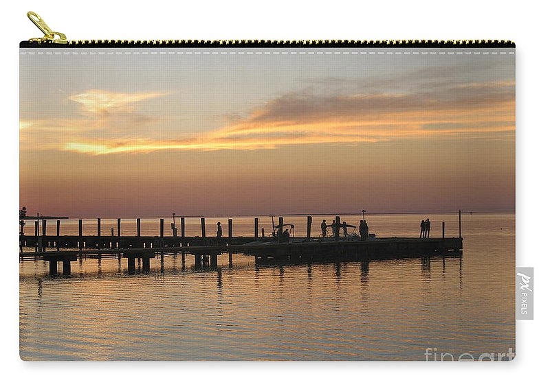 Evening Carry-all Pouch featuring the photograph Jetty In The Eveninglight by Christiane Schulze Art And Photography