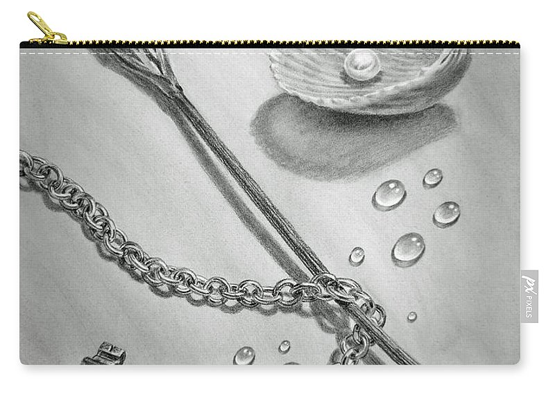 Realistic Drawing Carry-all Pouch featuring the drawing Jewels Of Love by Irina Sztukowski