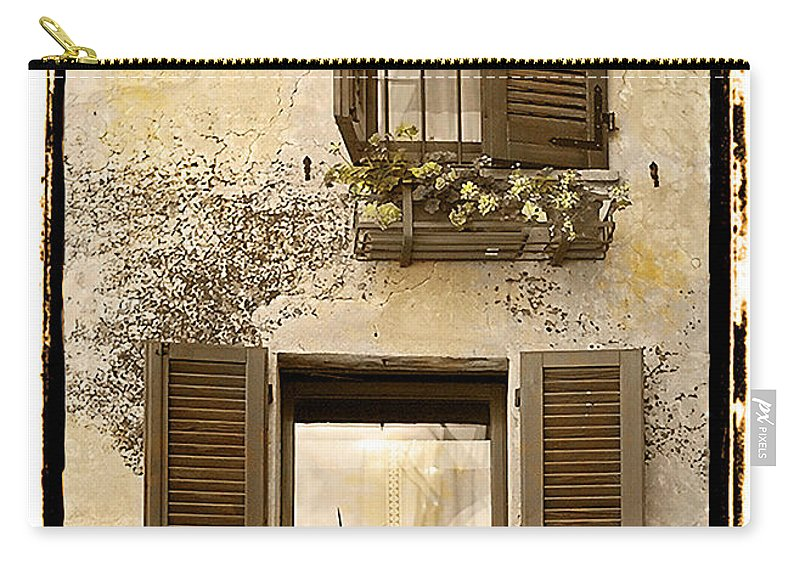 Fine Art Carry-all Pouch featuring the photograph Orvieto Window Polaroid by Jerry Fornarotto