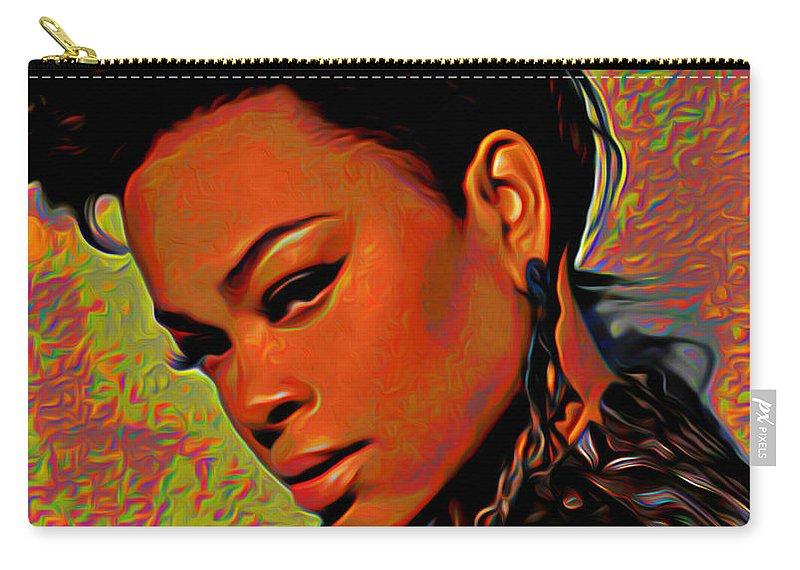 Jill Scott Art Carry-all Pouch featuring the painting Jill Scott by Fli Art