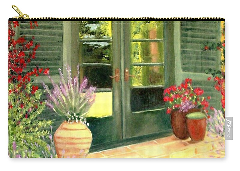 Shutters Carry-all Pouch featuring the painting Jill's Patio by Laurie Morgan