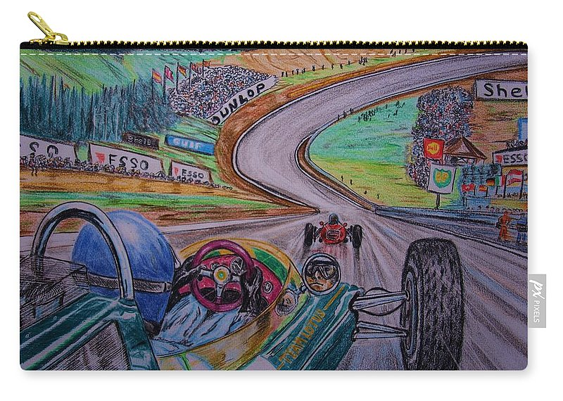 Jim Clark Carry-all Pouch featuring the painting Jim Clark The King Of Spa by Juan Mendez