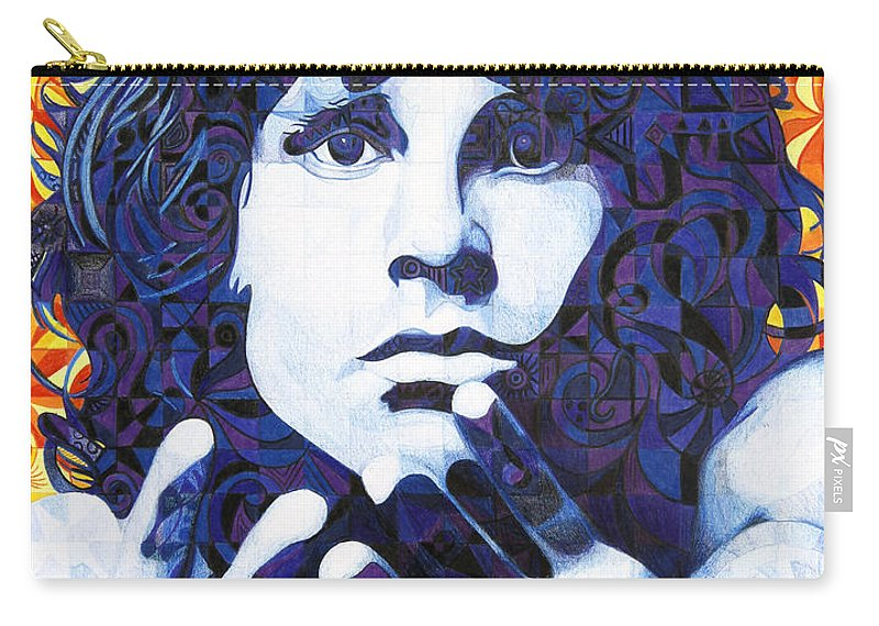 Jim Morrison Carry-all Pouch featuring the drawing Jim Morrison Chuck Close Style by Joshua Morton
