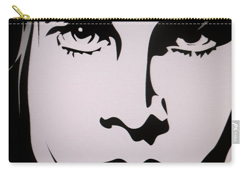 Jim Morrison Carry-all Pouch featuring the painting Jim Morrison by Ryszard Sleczka