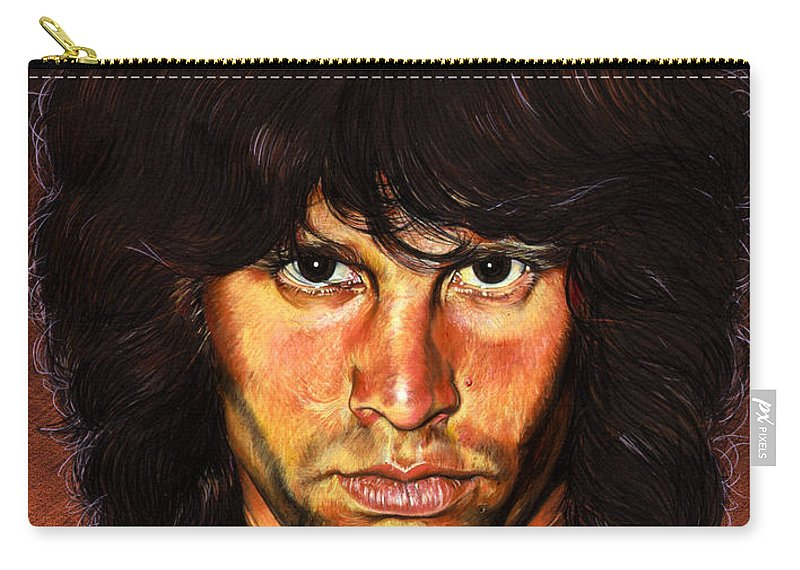 Jim Morrison Carry-all Pouch featuring the painting Jim Morrison by Timothy Scoggins