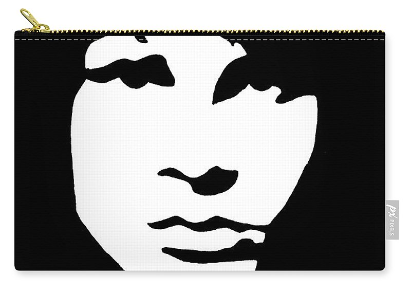 Black White Carry-all Pouch featuring the drawing Jim Morrison by Yael Rosen