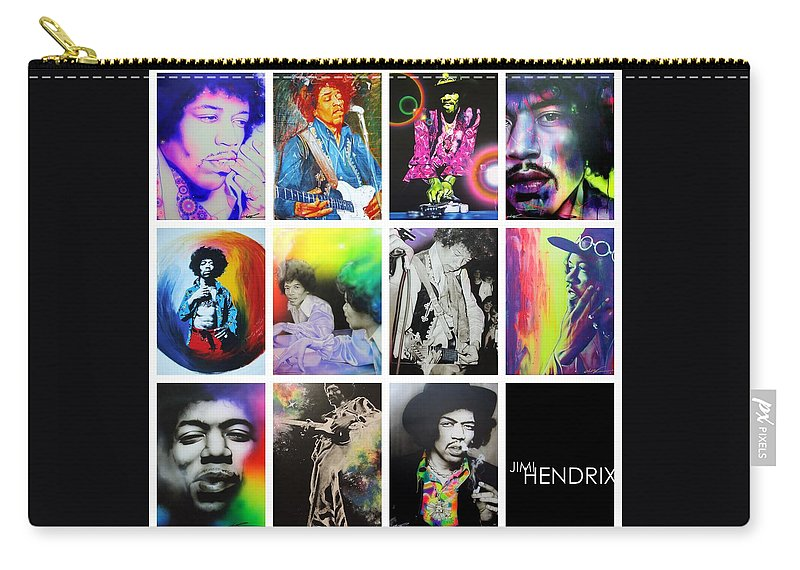 Jimi Hendrix Carry-all Pouch featuring the painting Jimi Collage by Christian Chapman Art