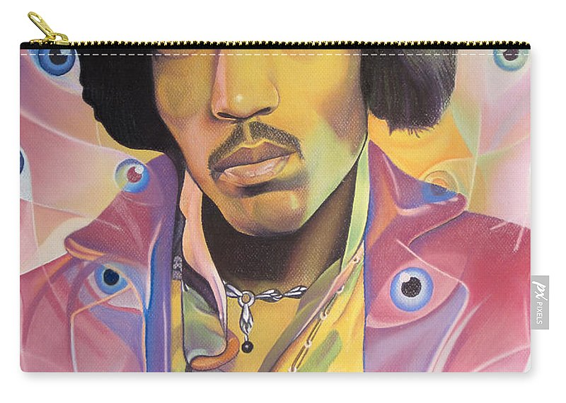 Jimi Hendrix Carry-all Pouch featuring the drawing Jimi Hendrix Eyes by Joshua Morton