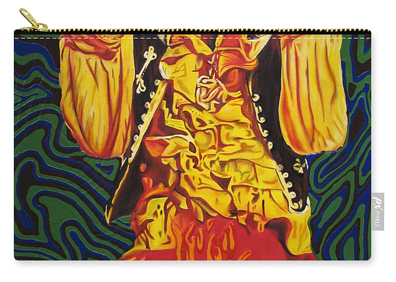 Jimi Hendrix Carry-all Pouch featuring the painting Jimi Hendrix Fire by Joshua Morton