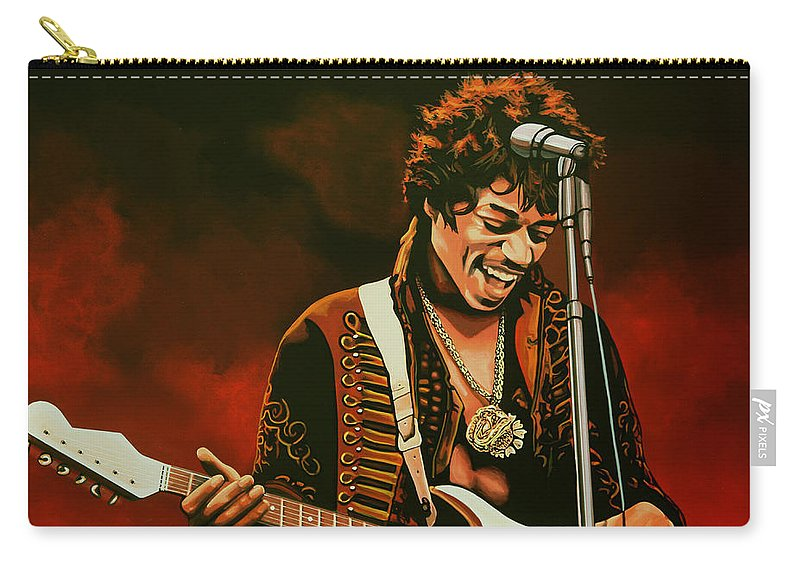 Jimi Hendrix Carry-all Pouch featuring the painting Jimi Hendrix Painting by Paul Meijering
