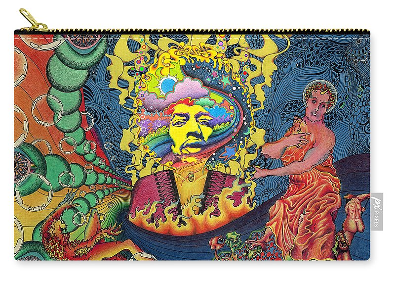 Psychedelic Carry-all Pouch featuring the painting Jimi Hendrix Rainbow Bridge by Jeff Hopp
