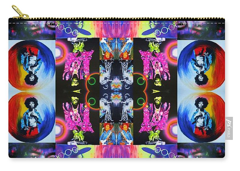 Jimi Hendrix Carry-all Pouch featuring the painting Jimi Kaleidoscope I by Christian Chapman Art