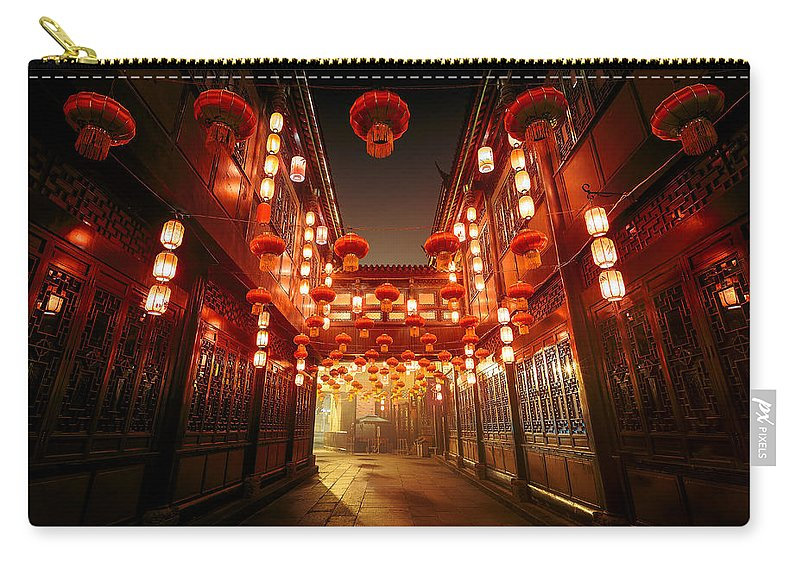 Chinese Culture Carry-all Pouch featuring the photograph Jinli Street, Chengdu, Sichuan, China by Kiszon Pascal