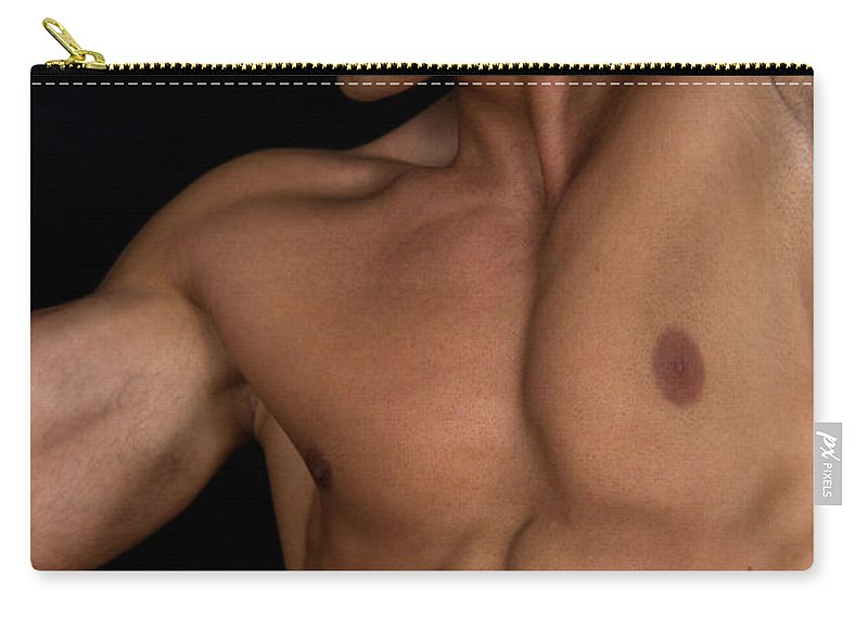 Male Nude Carry-all Pouch featuring the photograph jio by Mark Ashkenazi
