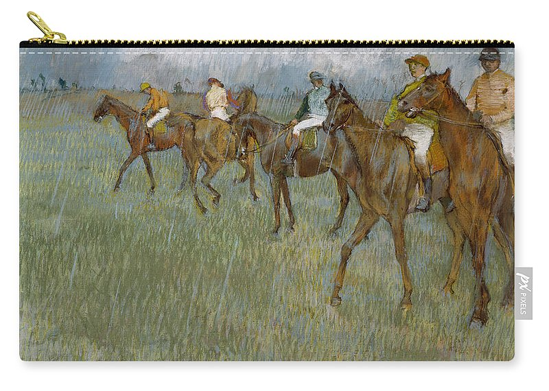Horse Carry-all Pouch featuring the drawing Jockeys In The Rain, 1886 by Edgar Degas