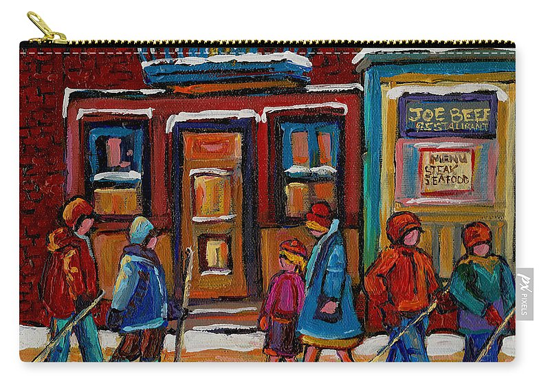 Joe Beef Restaurant And Boys With Hockey Sticks Carry-all Pouch featuring the painting Joe Beef Restaurant And Boys With Hockey Sticks by Carole Spandau