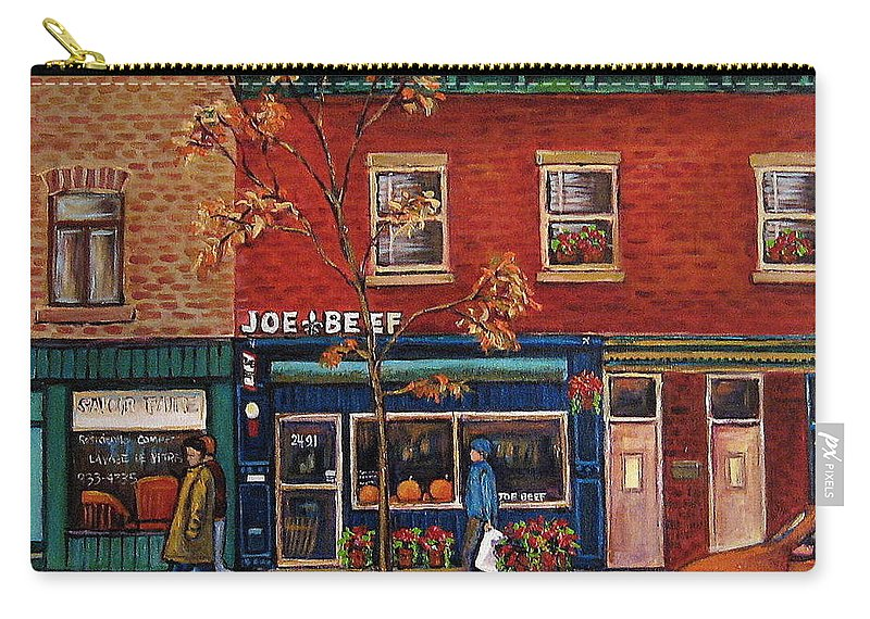 Montreal Carry-all Pouch featuring the painting Joe Beef Restaurant Montreal by Carole Spandau