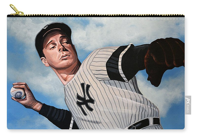Joe Dimaggio Carry-all Pouch featuring the painting Joe Dimaggio by Paul Meijering