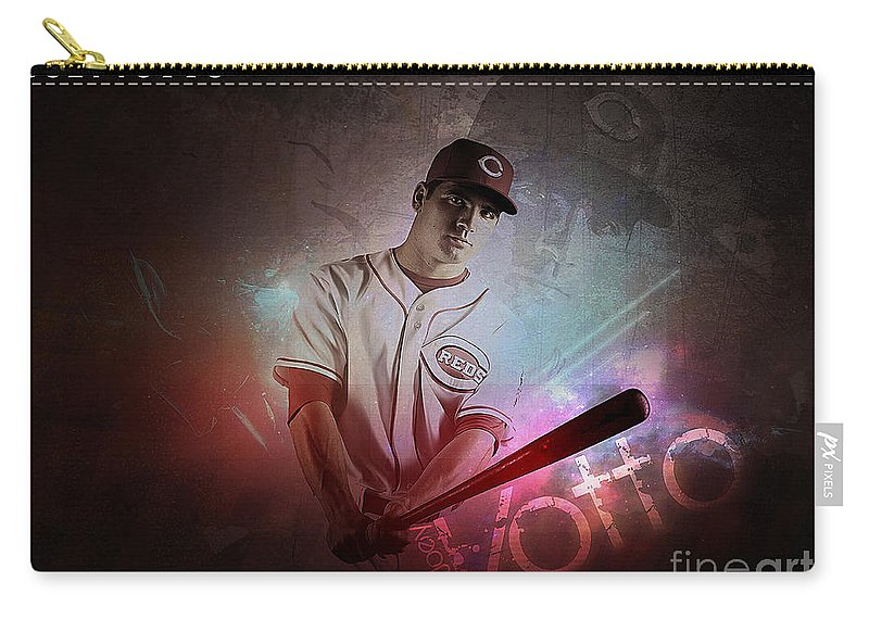 Home Art Carry-all Pouch featuring the mixed media Joey Votto by Marvin Blaine