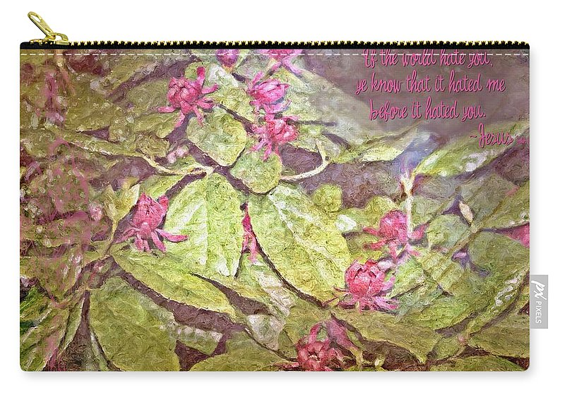 Jesus Carry-all Pouch featuring the digital art John 15 18 by Michelle Greene Wheeler