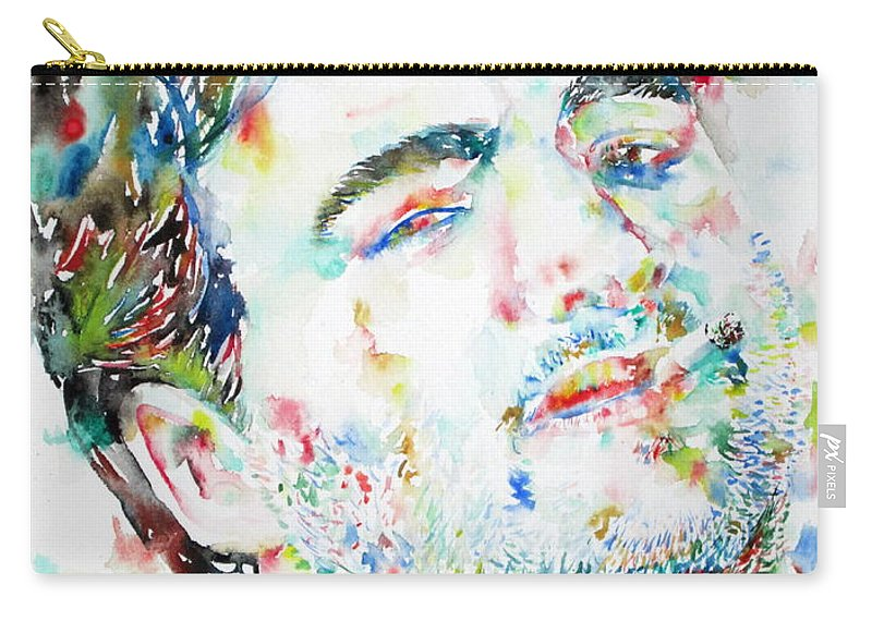 John Carry-all Pouch featuring the painting John Belushi Smoking - Watercolor Portrait by Fabrizio Cassetta