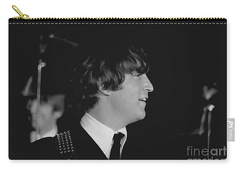 Beatles Carry-all Pouch featuring the photograph John Lennon, Beatles Concert, 1964 by Larry Mulvehill