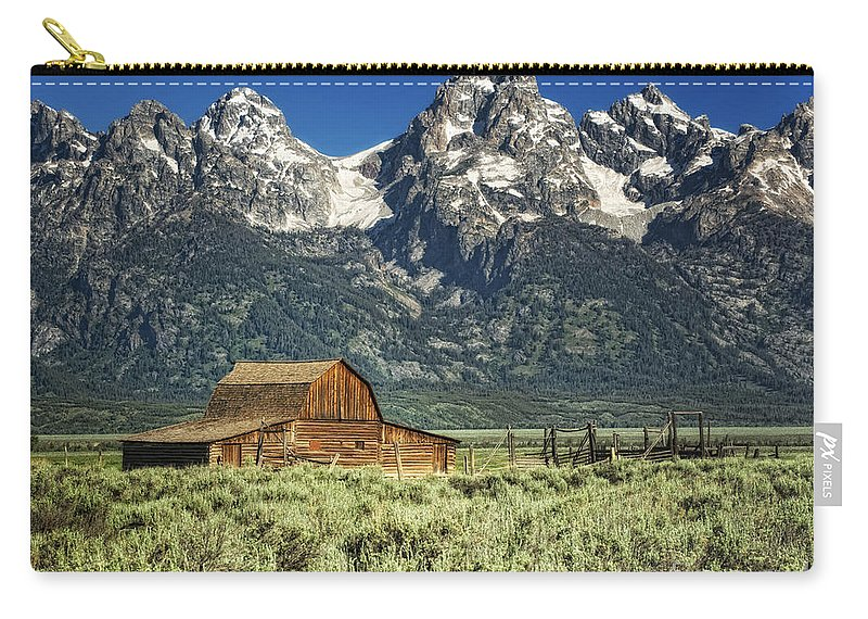 Tetons Carry-all Pouch featuring the photograph John Moulton Barn by Claudia Kuhn