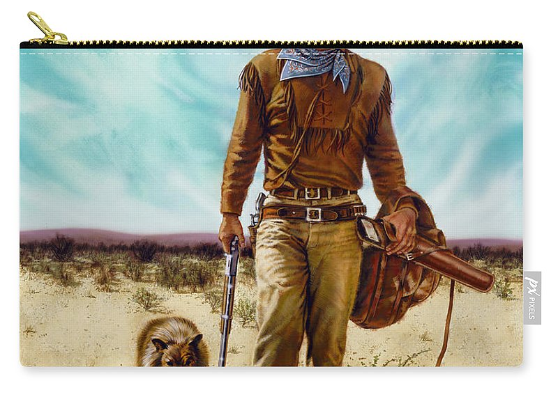 Portrait Carry-all Pouch featuring the painting John Wayne Hondo by Dick Bobnick