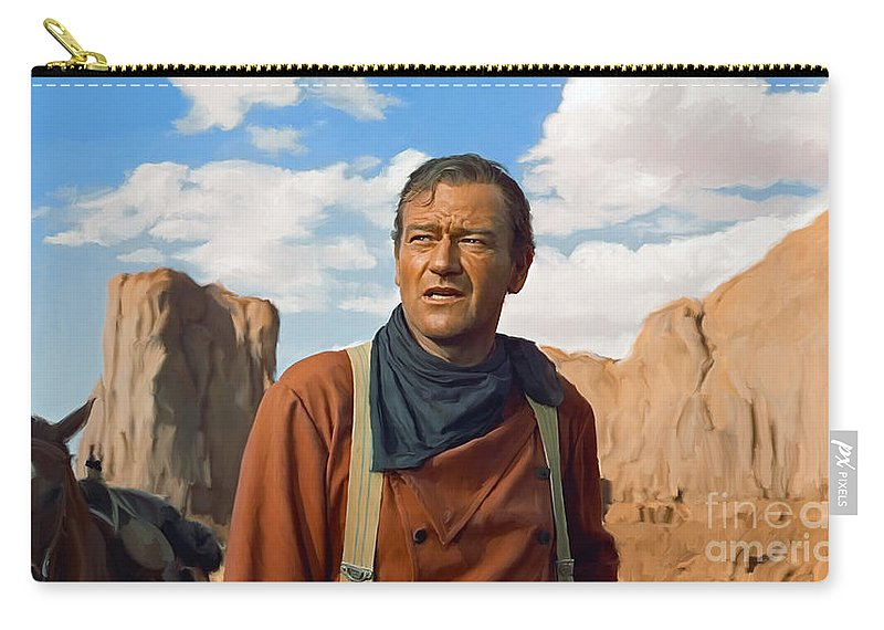 Duke Carry-all Pouch featuring the painting John Wayne by Paul Tagliamonte