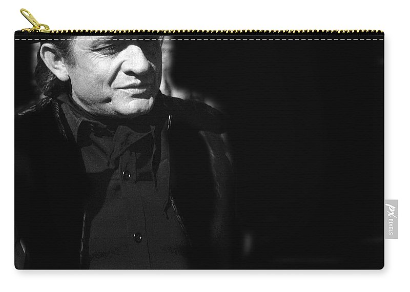 Johnny Cash Film Noir Homage Old Tucson Az All Black Clothes Door To Door Maniac Carry-all Pouch featuring the photograph Johnny Cash Film Noir Homage Old Tucson Arizona 1971 by David Lee Guss