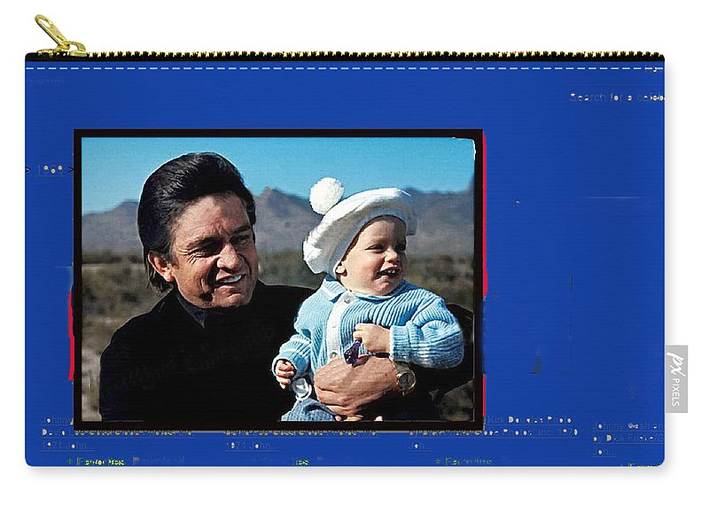 Johnny Cash John Carter Cash Old Tucson Az Holding Infant Displaying Toddler Carry-all Pouch featuring the photograph Johnny Cash John Carter Cash Old Tucson Arizona 1971 by David Lee Guss