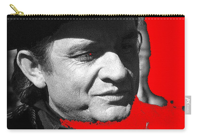 Johnny Cash Music Homage Ring Of Fire Old Tucson Az Red Added Carry-all Pouch featuring the photograph Johnny Cash Music Homage Ring Of Fire Old Tucson Arizona 1971 by David Lee Guss