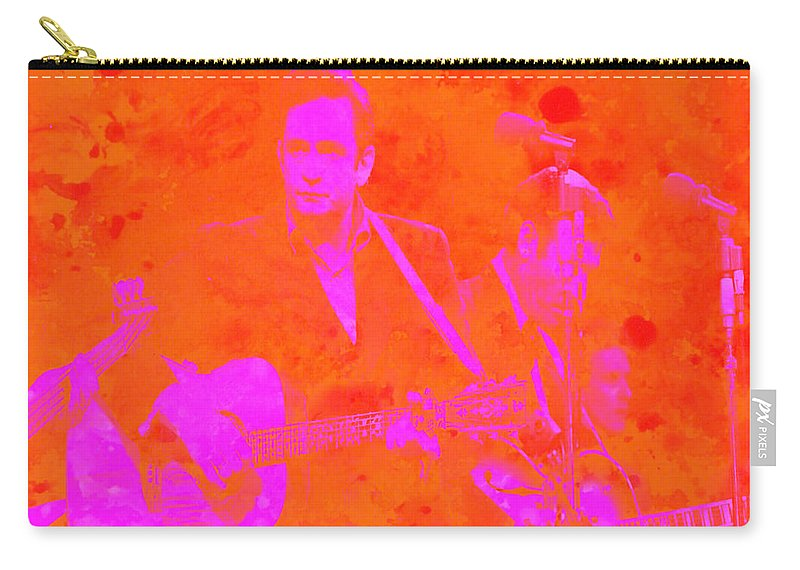 Johnny Cash Carry-all Pouch featuring the digital art Johny Cash 3 by Brian Reaves