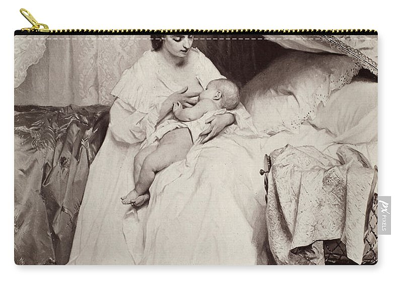 19th Century Carry-all Pouch featuring the photograph Jonghe: Young Mother by Granger