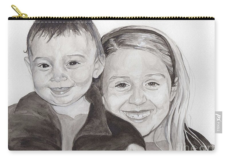 Sisters Carry-all Pouch featuring the painting Jordan And Chey Chey by Tamir Barkan