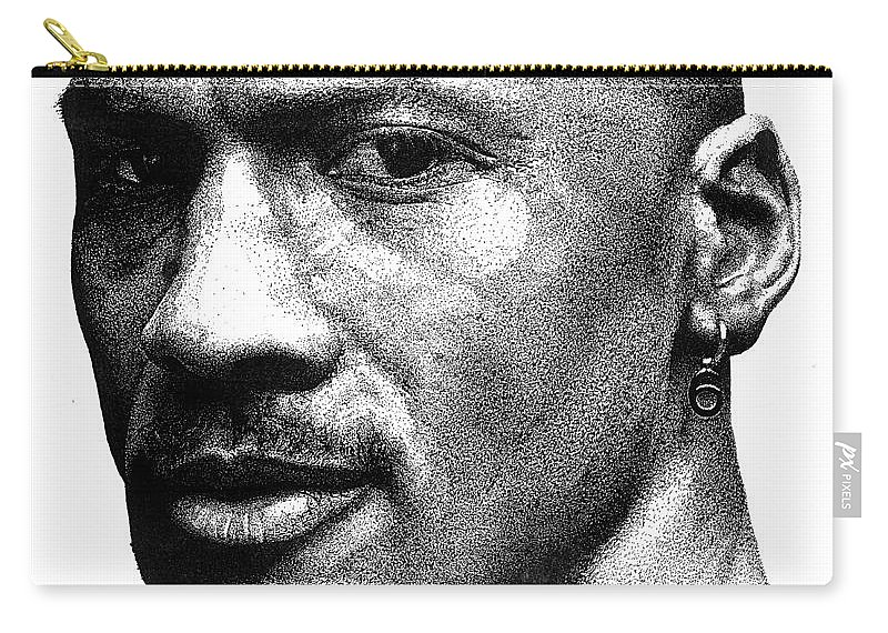 Michael Jordan Carry-all Pouch featuring the drawing Jordan Dots by Tamir Barkan