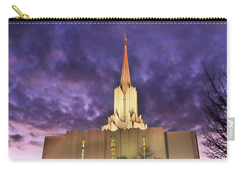 Built Structure Carry-all Pouch featuring the photograph Jordan River Utah Lds Mormon Temple by Utah-based Photographer Ryan Houston