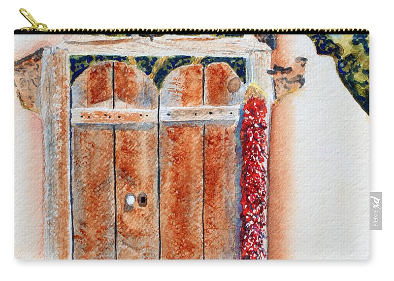 Gate Carry-all Pouch featuring the painting Josefina's Old Gate by Deb Harclerode