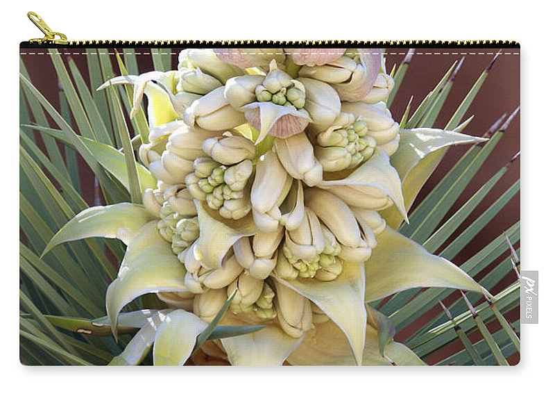 Joshua Tree Flower Carry-all Pouch featuring the photograph Joshua Tree Flower by David Salter