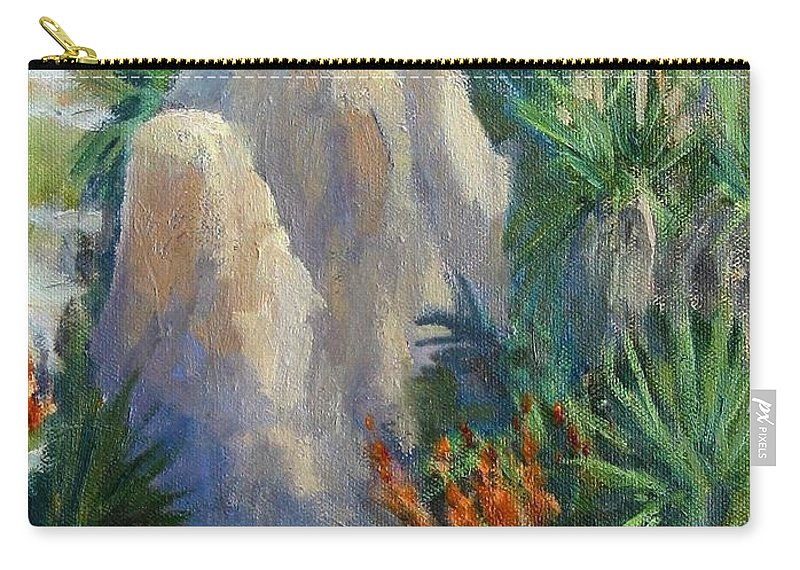 Desert Scene Carry-all Pouch featuring the painting Joshua Tree National Monument by Maria Hunt