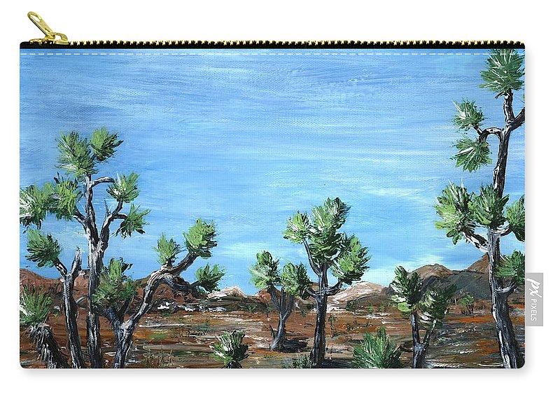 Malakhova Carry-all Pouch featuring the painting Joshua Trees by Anastasiya Malakhova