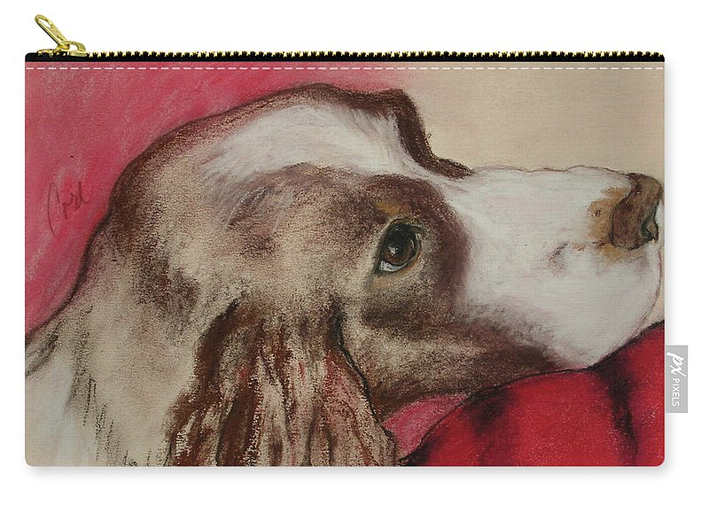 Springer Spaniel Carry-all Pouch featuring the drawing Jourdan by Cori Solomon