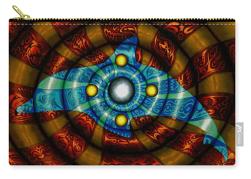 Dolphin Carry-all Pouch featuring the painting Journey To The Center by Kevin Chasing Wolf Hutchins
