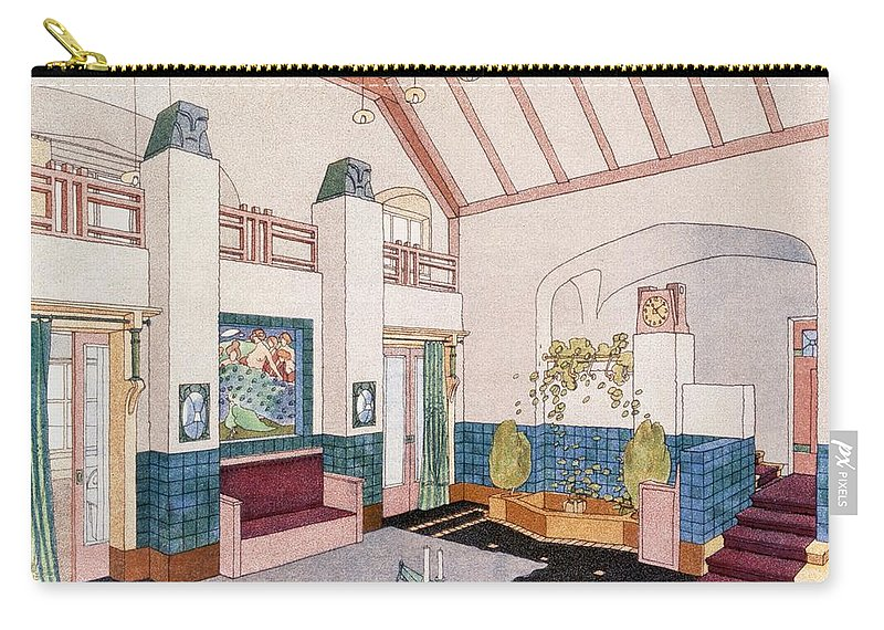 Interior Carry-all Pouch featuring the drawing Jugendstil Or Early Modernist Style by German School