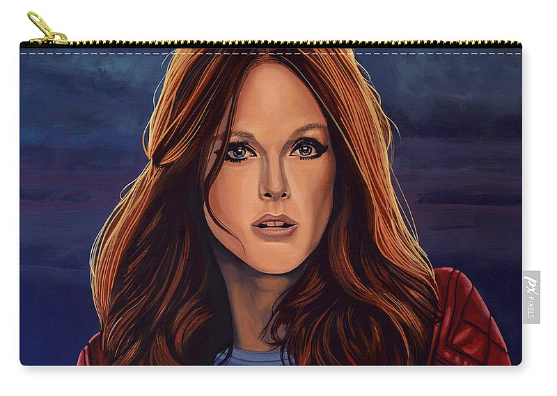 Julianne Moore Carry-all Pouch featuring the painting Julianne Moore by Paul Meijering