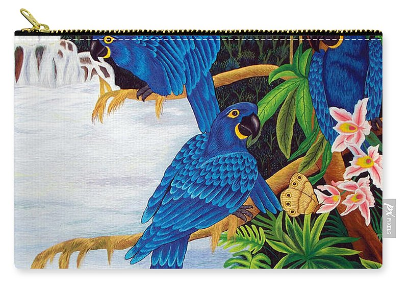 Toucan Carry-all Pouch featuring the tapestry - textile Jungle Chats Hand Embroidery by To-Tam Gerwe