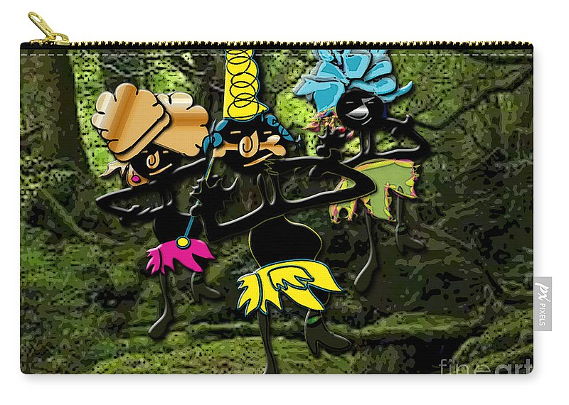 Jungle Dancers Carry-all Pouch featuring the mixed media Jungle Dancers by Marvin Blaine